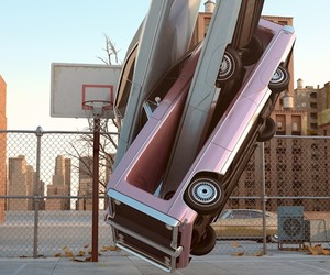 """Auto Aerobics"" 3D Graphic Art by Chris Labrooy"