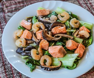 Bok Choy, Shrimp and Salmon Stir Fry
