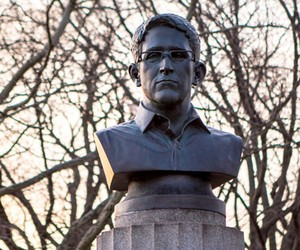 A bust of Edward Snowden