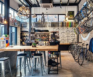 Factory Five Bike Shop serves Fixies and Beer