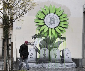"""R.I.P Banking System"" by Artist Ludo in Paris"