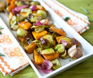 Balsamic Roasted Brussels Sprouts and Kabocha