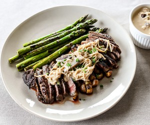Steak in Mushroom Miso Sauce