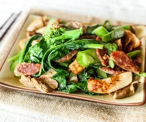 Stir-fried Gai Lan with Fish Cake & Lap Cheong