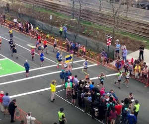 A clever road crossing at the Boston Marathon