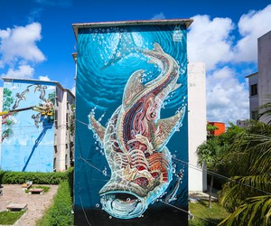 Translucent Whale Shark by Artist Nychos in Cancun