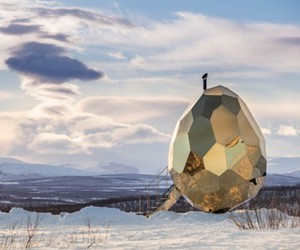 A sauna in the Swedish Kiruna looks like an egg