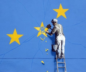 Banksy comments on Brexit with a wall painting