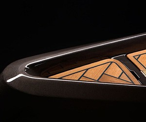 A luxury canoe made of carbon and teak