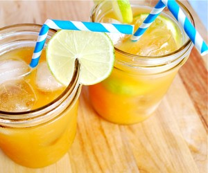 Ginger Limeade Cocktail with Fresh Peaches