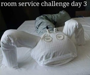 A hotel guest builds pillows every day