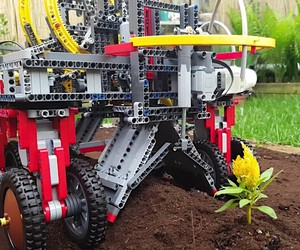 A planting machine made entirely of Lego