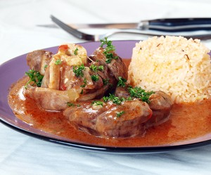 Osso Bucco served with Saffron Rice