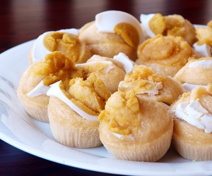 Steamed Rice cakes topped with Salted Eggs