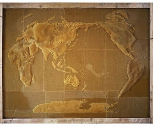 Elaborate World Maps Made of Beeswax by Ren Ri