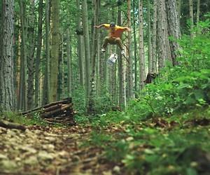 Skateboarding in the Woods