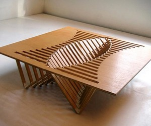 Rising Table Bamboo Wood Design