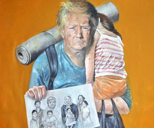 Syrian artist paints politicians as refugees