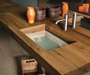 Wood And Glass Washbasin