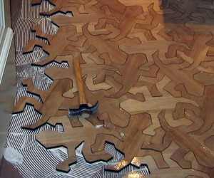 MC Escher 'Reptiles' Wood Flooring